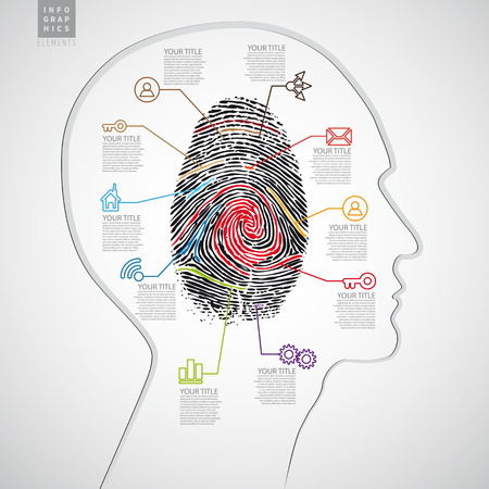 mental confusion: Vector infographics web design template with criminal theme finger stamp - infocard Illustration