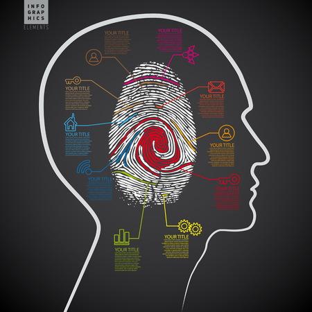 mental confusion: Dark Vector infographics web design template with criminal theme finger stamp - infocard