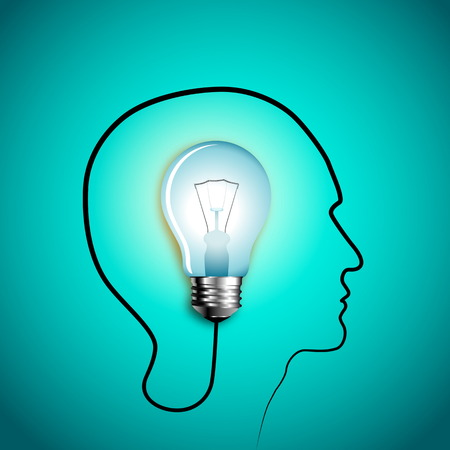 Human head thinking a new idea. Creative Idea. vector Illustration