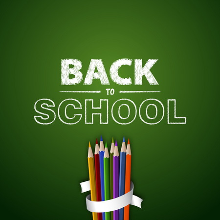 colored school: Welcome back to school. Vector illustration. Card design