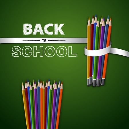 green back: Welcome back to school. Vector illustration. Card design