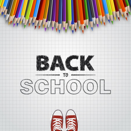 Welcome back to school. Vector illustration. Card design