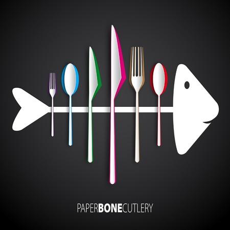 Papercut bone fish cutlery, spoon, knife, fork Vector