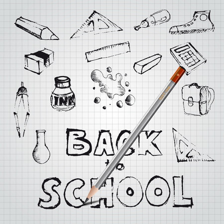 Back to school, drawn by pencil, set of school doodle illustrations Vector