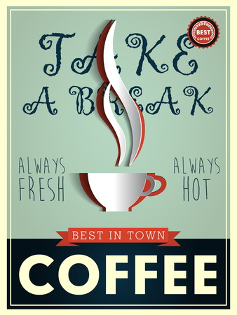 imperfections: Poster in vintage style with a coffee cup and text Illustration