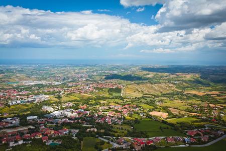 san marino: Modern San Marino Suburban districts and Italian hills view from above  Horizontal shot