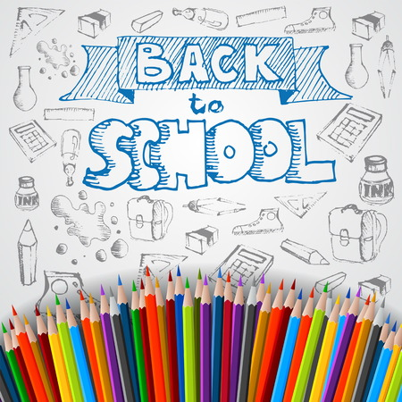 Back to school poster, vector colorful crayons on white paper with abstract doodles