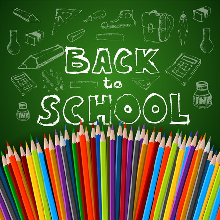 Back to school poster, vector colorful crayons on white paper with abstract doodles Vector