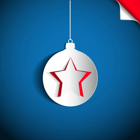 Christmas ball and star made from papercut on blue background, vector card illustration Vector