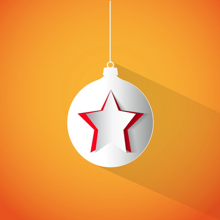 Christmas ball and star made from papercut on white background, vector card illustration Vector