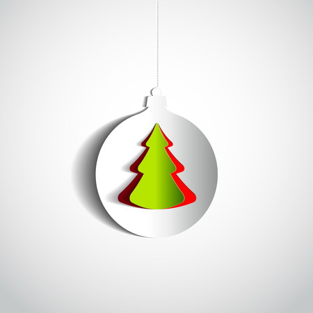Christmas ball and tree made from papercut on white background, vector card illustration Vector