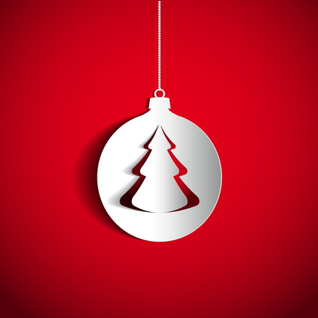Christmas ball and tree on red background made from papercut, vector card illustration Vector