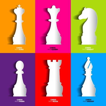 chess move: Sets of papercut Chess icon, vector silhouette with shadows