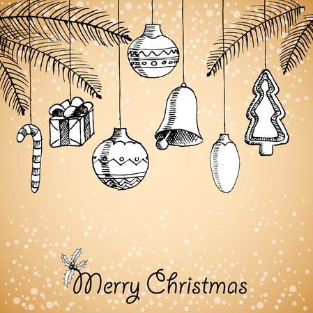 Christmas hand drawn decorations for xmas design, vector illustration card Vector