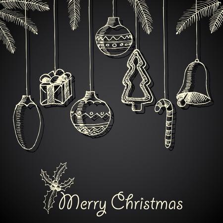 Christmas hand drawn decorations for xmas design, vector illustration card Vector