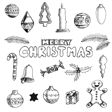 Christmas hand drawn doodles for xmas design. With decoration, Vector Vector