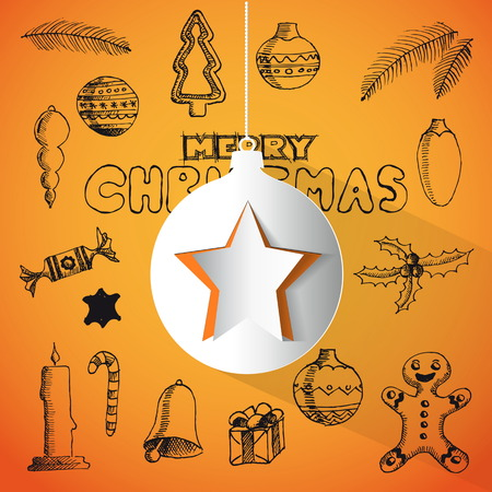 Christmas hand drawn doodles for xmas design. With papercut star and ball, and decoration, Vector Vector