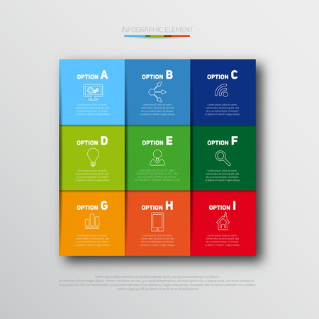 Modern infographics options banner with realistic colorful ribbons for 9 options and icons. Vector. Can be used for web design and workflow layout  イラスト・ベクター素材