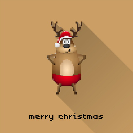 Merry Christmas pixel art style santa reindeer poster for party or greeting card. Vector illustration Vector