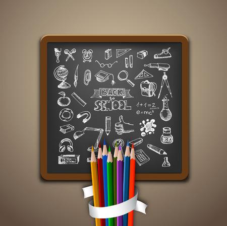 Hand-drawn school set. Back to school illustration Vector