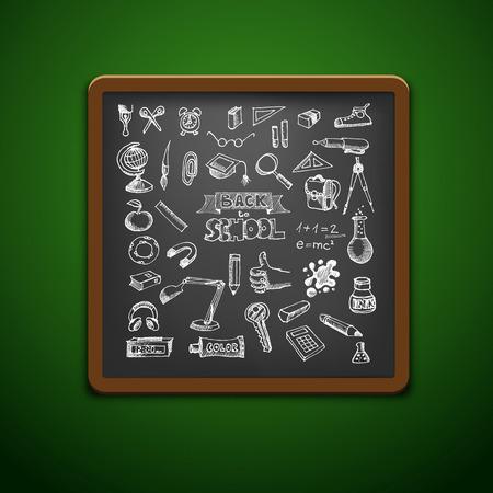 utiles escolares: Set escuela dibujado a mano. Volver a la ilustraci�n de la escuela Vectores