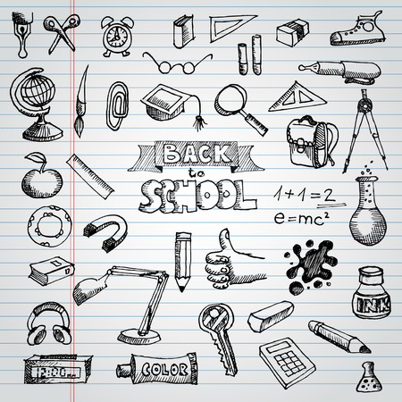 Back to School Supplies Sketchy Notebook Doodles with Lettering Vector