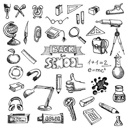 utiles escolares: Back to School Supplies Doodles incompletos garabatos con letras Vectores