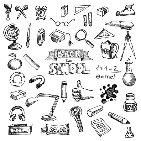 first day of school: Back to School Supplies Sketchy Doodles with Lettering Illustration