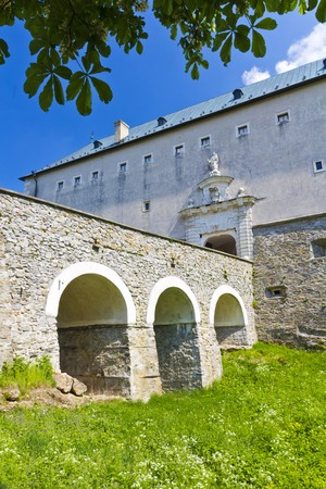 main gate: Main gate and massive bridge over dry moat at Cerveny Kamen Castle, Slovakia Editorial