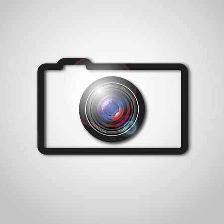 Photo camera lens and outline icon Vector