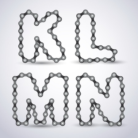 alphabetical letters: alphabet letters made from Bicycle chain Illustration