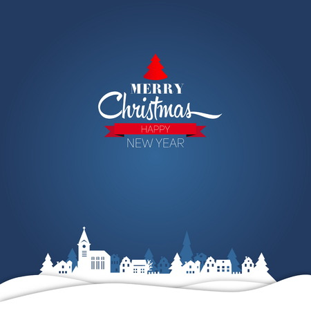 Merry Christmas and happy new year retro greeting card and background, vector Vector