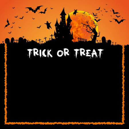 halloween background: Happy Halloween Card Template, Mix of Various Spooky Creatures, Moon and Castle, Illustration Illustration