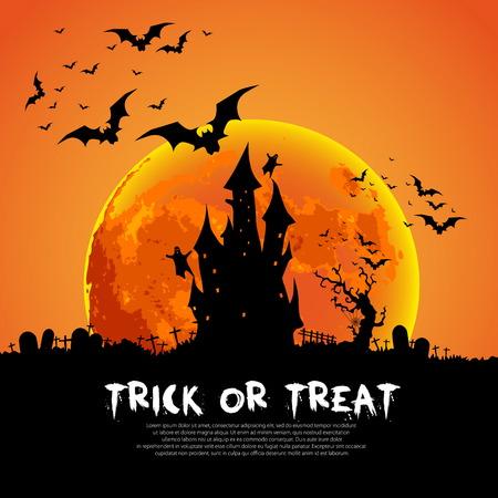 halloween poster: Happy Halloween modello di scheda, Mix di varie creature Spettrale, Luna e il Castello, illustrazione Vettoriali