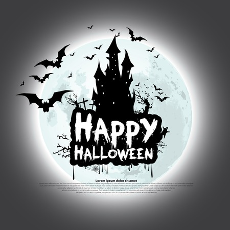 Happy Halloween Card Template, Mix of Various Spooky Creatures, Moon and Castle, Illustration  イラスト・ベクター素材