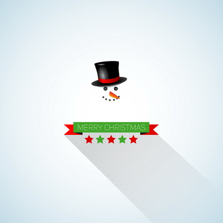 Merry Christmas and happy New Year retro stylized card with holiday snowman, illustration Vector