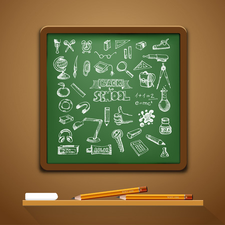 Hand-drawn school set. With pencils and chalk. Back to school illustration Vector