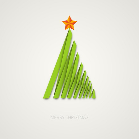Simple christmas tree made from paper stripe, original new year card Vector