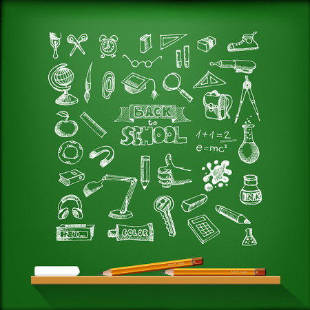 Hand-drawn school set. With pencils and chalk. Back to school illustration  イラスト・ベクター素材