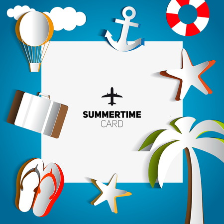 Summertime card or traveling template with beach summer accessories maded from paper cut, illustration