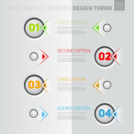Vector Infographic timeline report template with icons  イラスト・ベクター素材