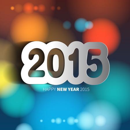 Buon anno 2015 su sfondo sfocato con l'anno Papercut, illustrazione vettoriale Nuovo