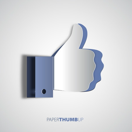 Papercut icon social networks, like us Icons, vector illustration