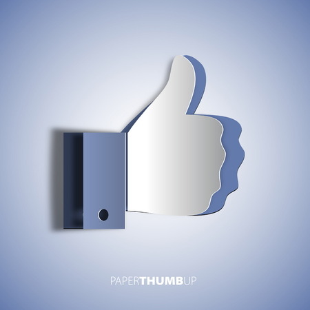 like: Papercut icon social networks, like us Icons, vector illustration