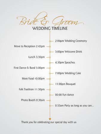 wedding reception decoration: Simple infographics style wedding timeline Illustration