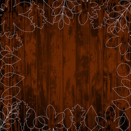 Autumn vintage vector poster on wood background