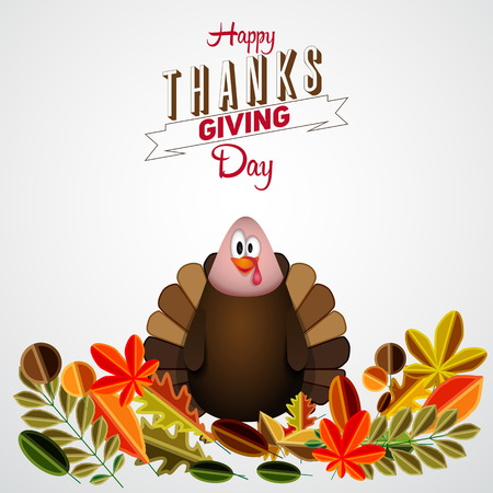 Vintage cartoon of turkey bird for Happy Thanksgiving celebration with leaves, can be use as flyer, poster or banner Vector