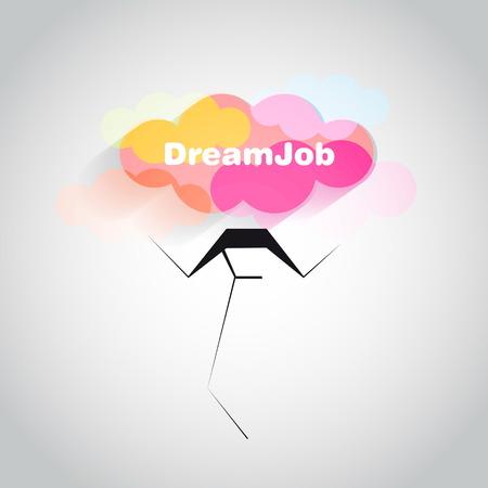 dream job: Dream job - conceptual logo eps10 illustration
