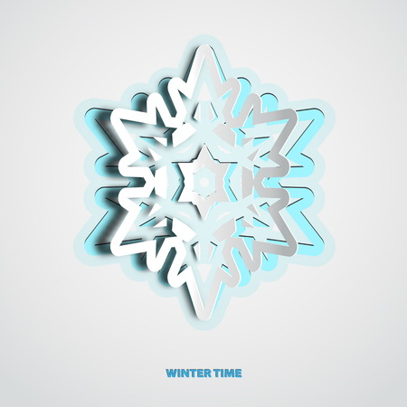 white card: Vector paper cut christmas snowflake on a white background Illustration