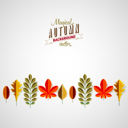 Autumn background abstract poster, Colorful vector leafs design Vector